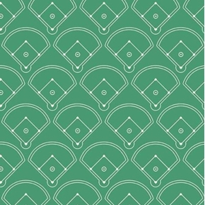 Varsity Sports Baseball Fields Diamond on Green Cotton Fabric