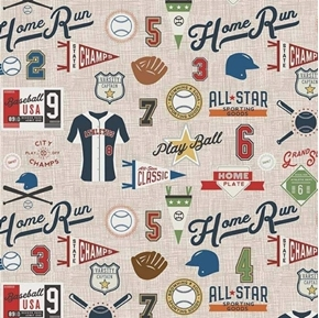 Varsity Sports Baseball Terms and Equipment on Tan Cotton Fabric