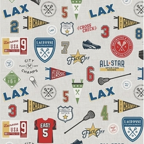 Varsity Sports Lacrosse Terms and Equipment on Gray Cotton Fabric
