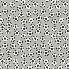 Picture of Varsity Sports Soccer Balls on Gray Cotton Fabric