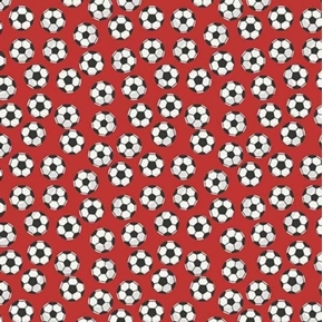Varsity Sports Soccer Balls on Red Cotton Fabric
