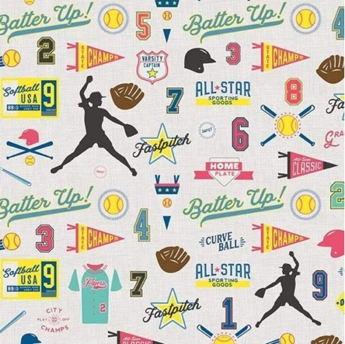 Picture of Varsity Sports Softball Terms and Equipment on Gray Cotton Fabric