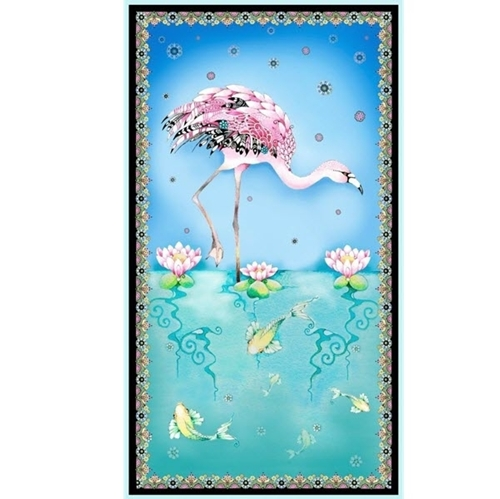 Picture of Fancy Flamingoes Flamingo Flowers Koi Fish 24x44 Cotton Fabric Panel