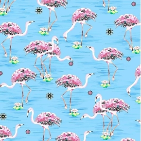 Fancy Flamingoes Pink Flamingoes and Flowers Light Blue Cotton Fabric