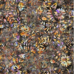 Picture of Botanica Mixed Botanical Plants Leaves Charcoal Batik Cotton Fabric