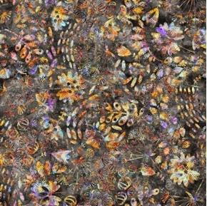Picture of Botanica Mixed Botanical Plants Leaves Charcoal Batik Cotton Fabric