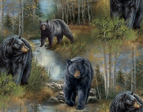 Wild Wings Reluctant Companion Black Bear Scenic Cotton Fabric