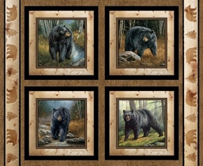 Wild Wings Reluctant Companion Black Bears Fabric Pillow Panel Set