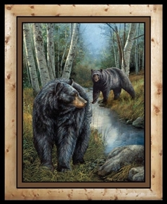 Wild Wings Reluctant Companion Black Bears Large Cotton Fabric Panel