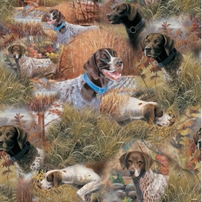 Wild Wings Show Dogs Hunting Dogs Allover Cotton Fabric