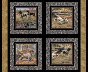 Wild Wings Show Dogs Hunting Dogs Cotton Fabric Pillow Panel Set