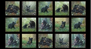 Tender Moments Black Bears Bear Family Block 24x44 Cotton Fabric Panel