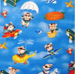 Picture of When Pigs Fly Airplane Flying Pigs Pig Parachute Cotton Fabric