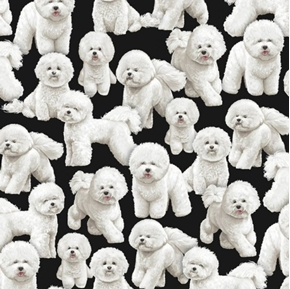 Bichon Frise Dog Little Puffy White Dogs on Black Cotton Fabric