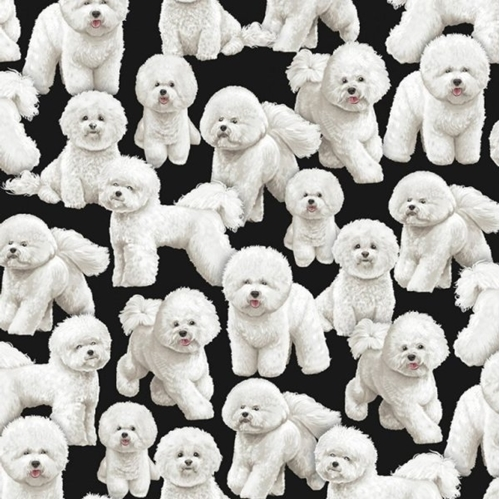 Picture of Bichon Frise Dog Little Puffy White Dogs on Black Cotton Fabric