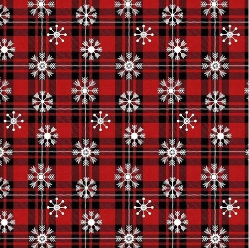 Over the River Snowflake Plaid Snowy Christmas Cotton Fabric