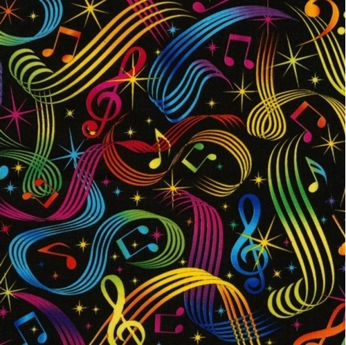 Picture of Jam Session Music Notes Allover Rainbow Musical Cotton Fabric