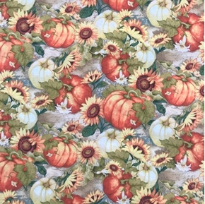 Sunflower Garden Fall Pumpkin Patch Pumpkins Flowers Cotton Fabric