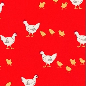 What Do the Animals Say Chickens Hens and Chicks on Red Cotton Fabric