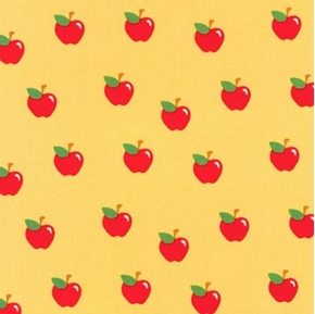 What Do the Animals Say Apple Red Apples on Yellow Cotton Fabric