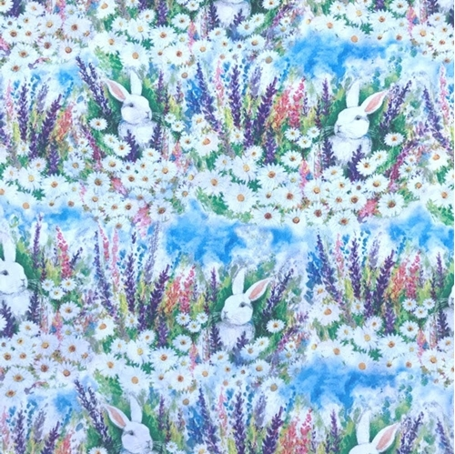 Picture of Garden Buddies Easter Rabbits in Fields of Flowers Cotton Fabric