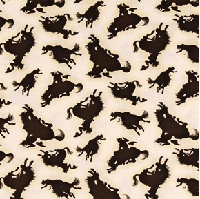 Rodeo Roundup Bucking Bronco Cowboy Silhouette Cotton Fabric