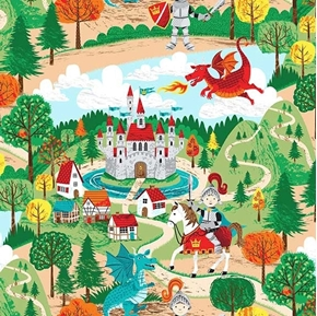 Dragonheart Little Knights Dragons Castles Village Cotton Fabric