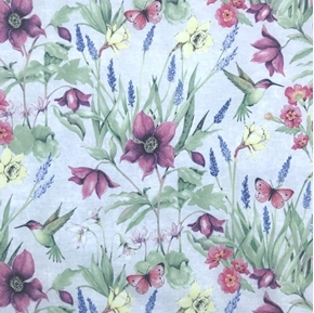 Botanical Buzz Garden Hummingbirds and Butterflies Cotton Fabric