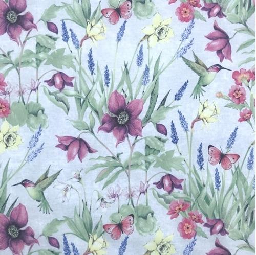Picture of Botanical Buzz Garden Hummingbirds and Butterflies Cotton Fabric
