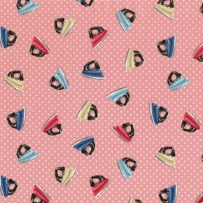 Picture of Stitch in Time Retro Irons on Polka Dot Pink Cotton Fabric