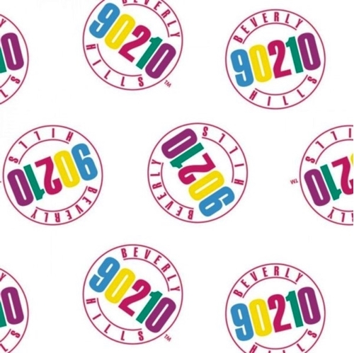 Picture of Beverly Hills 90210 Logo CBS Television TV Show White Cotton Fabric