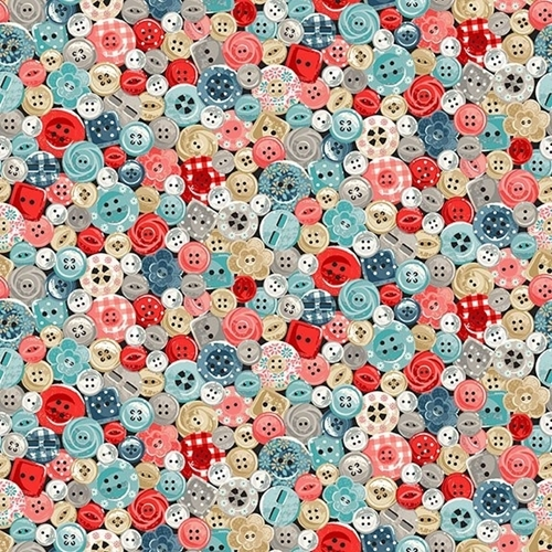 Picture of Stitch in Time Colorful Buttons Button Collage Cotton Fabric