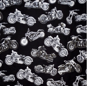Silver Choppers Motorcycles Road Warrior Black Cotton Fabric