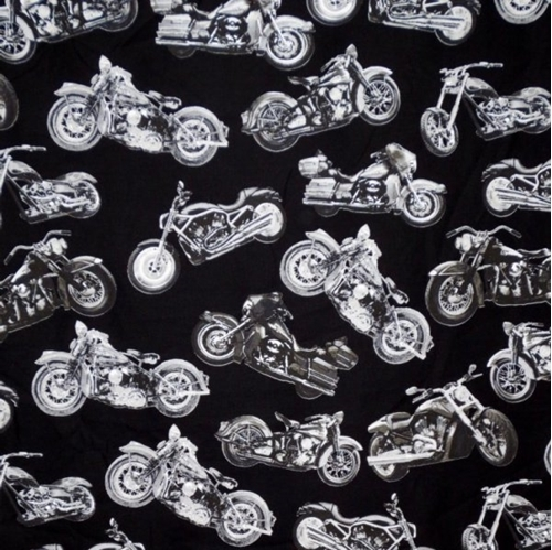 Picture of Silver Choppers Motorcycles Road Warrior Black Cotton Fabric