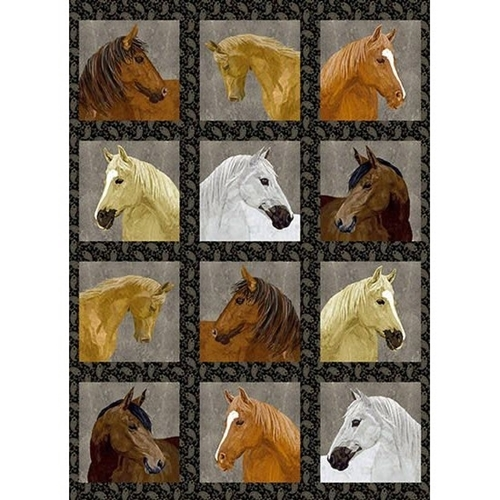 Picture of Thoroughbreds Horse Heads Horses 30x44 Cotton Fabric Panel