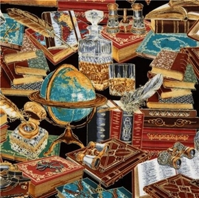 Picture of Library Books Globe Vintage Office Gold Metallic Cotton Fabric