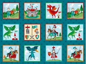 Dragonheart Little Knights Dragons Castles Block 24x44 Fabric Panel