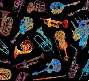 Picture of Fine Tuning Batik Instruments Musical Instrument Black Cotton Fabric