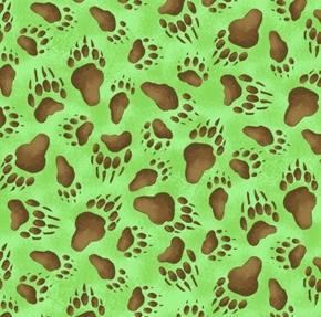 Picture of Adventures of Bear and Friends Animal Tracks Green Cotton Fabric