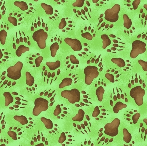 Adventures of Bear and Friends Animal Tracks Green Cotton Fabric