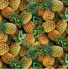 Food Festival Pineapples Tropical Pineapple Fruit Cotton Fabric
