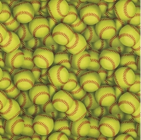 Softball Big Yellow Softballs Sports Cotton Fabric