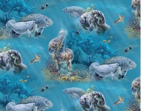Picture of Gentle Giants Manatees Manatee Mother Cow and Young Calf Cotton Fabric