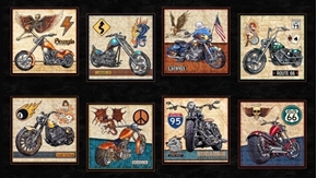 Picture of Easy Rider Motorcycle Patch Black 24x44 Bike Week Cotton Fabric Panel
