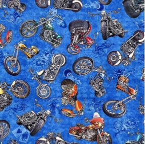 Easy Rider Motorcycle Toss Classic Bikes Blue Biker Cotton Fabric
