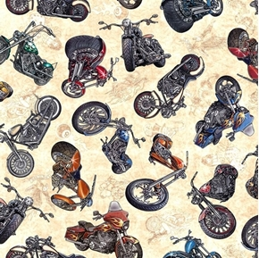 Easy Rider Motorcycle Toss Classic Bikes Cream Biker Cotton Fabric