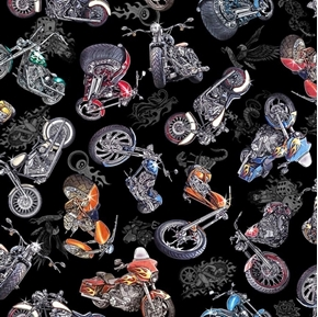 Easy Rider Motorcycle Toss Classic Bikes Black Biker Cotton Fabric