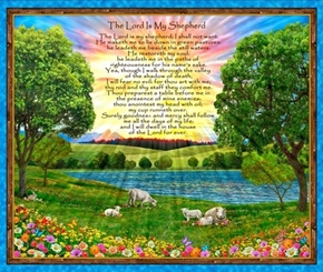 The Lord is My Shepherd 23rd Psalm Large Cotton Fabric Panel