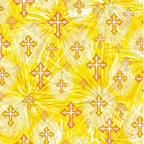 The Lord Is My Shepherd Crosses 23rd Psalm Cross Yellow Cotton Fabric