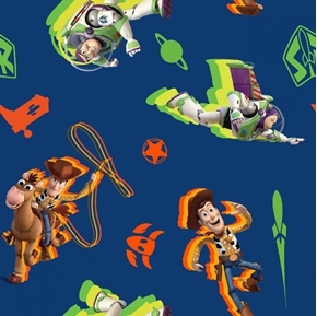 Disney Toy Story 4 Buzz and Woody Toss Pixar Blue Cotton Fabric
